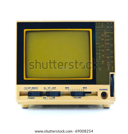Old style mini television isolated on white background - stock photo