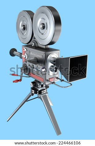 Old style movie camera , isolated - stock photo