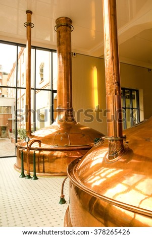Old style of brewing beer. - stock photo
