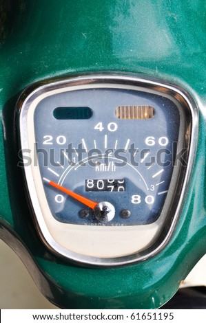 Old style of Motorcycle Speed Gauge - stock photo