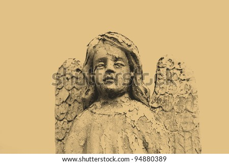 old style photo of angel statue in cemetery - stock photo