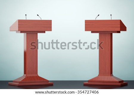 Old Style Photo. Wooden Podium Tribune Rostrum Stands with Microphones on the floor - stock photo