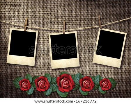 Old style photographs hanging on a clothesline - stock photo