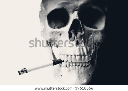 Old style portrait of a human skull smoking a cigarette. High black and white contrast, space for copy.