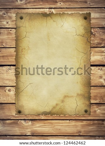 Old Style Retro Paper On Wooden Wall. Ready For Your Message. - stock photo