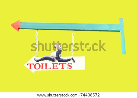 Old style signboard. Isolated on yellow. - stock photo