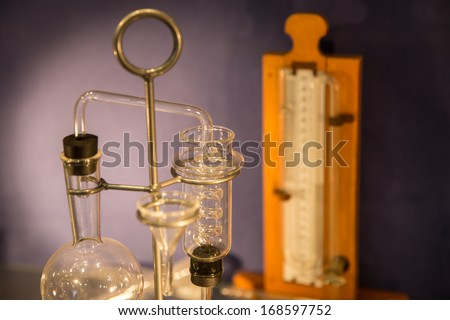 old style test tubes in chemistry laboratory - stock photo