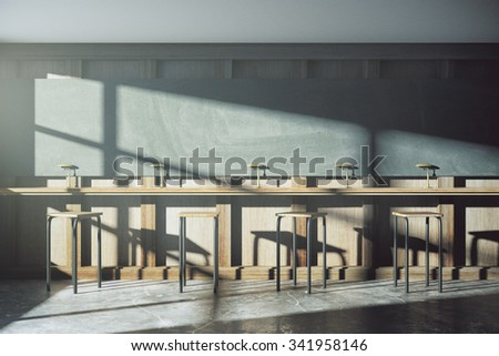 Old style university classroom with furniture and blackboard at sunrise 3D Render - stock photo