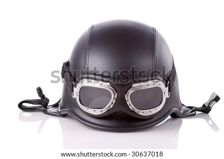 old-style us army motorcycle helmet with goggles - stock photo