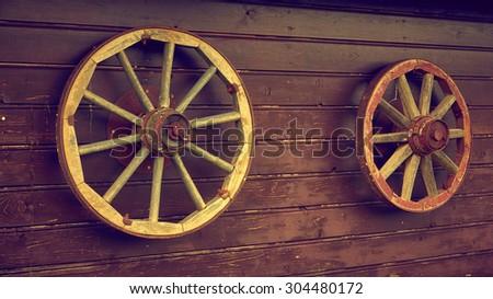 Old style wheels, retro - stock photo