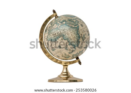 Old Style World Globe - Antique world globe isolated on white background.  Studio close up.  Showing Africa and some of Middle East. - stock photo