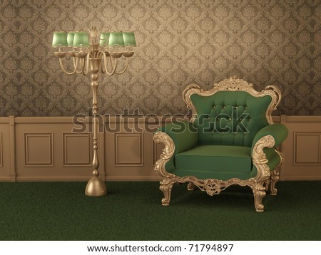 Old styled furniture. Armchair with frame in royal wooden interior. Luxurious apartment - stock photo