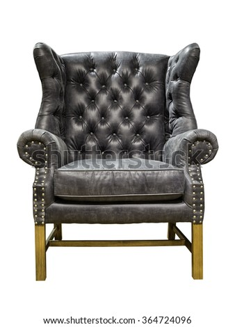 Old styled grey vintage armchair isolated on white background - stock photo