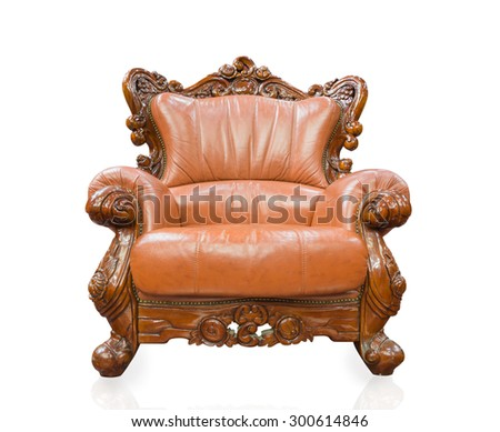 Old styled sofa vintage armchair furniture isolated on white background.