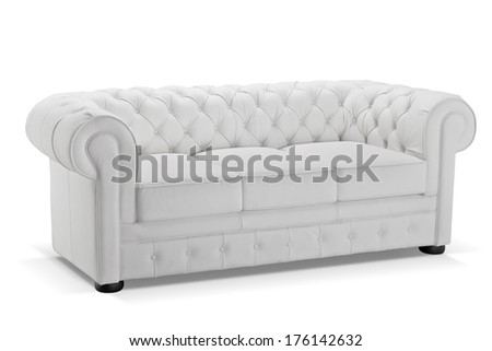 Old styled white leather sofa isolated on white background, studio shot - stock photo