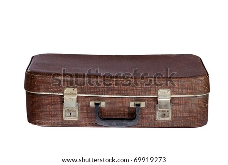 Old suitcase. Closed - stock photo