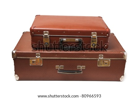 old suitcase isolate on a white background