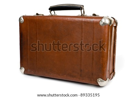 Old suitcase isolated on a white background - stock photo