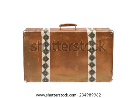Old suitcase isolated on a white background. Vintage style.