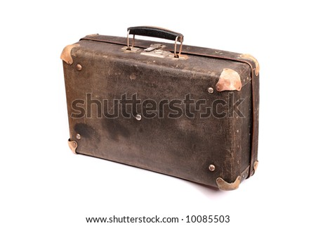 old suitcase over white background