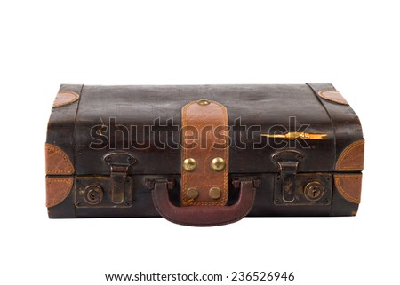 Old suitcase. Vintage style. isolated on a white background