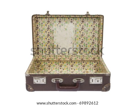 Old suitcase with clipping path - stock photo