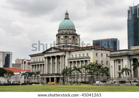 Old supreme court building in Singapore. Classical architecture in colonial style.