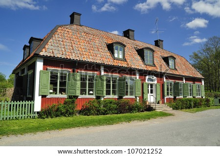 Old Swedish house. - stock photo