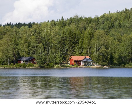Old Swedish summer cottage at a lake