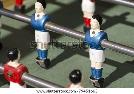 old tabletop with blue football player in toy - stock photo