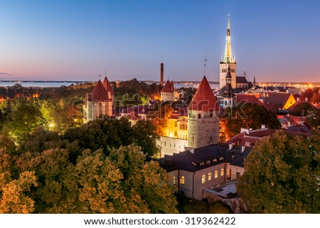 Old Tallinn, city walls, towers, churches and Bay of Tallinn by  - stock photo