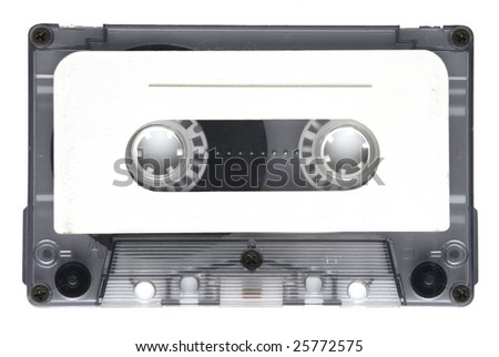 Old tape cassette isolated, dusty and grunge - stock photo