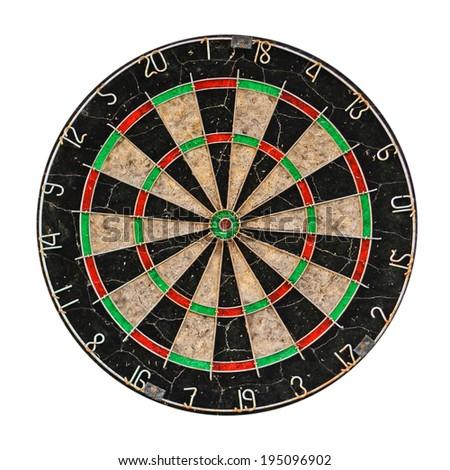 Old target dartboard isolate on white background. - stock photo