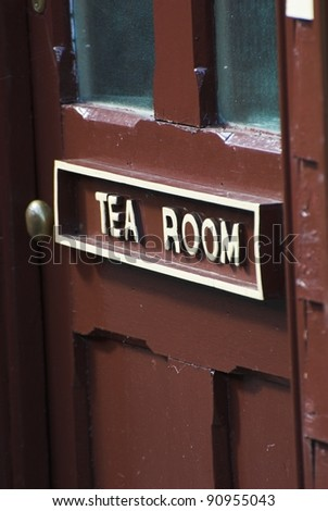 Old Tea Room Cafe Door At A British Railway Station