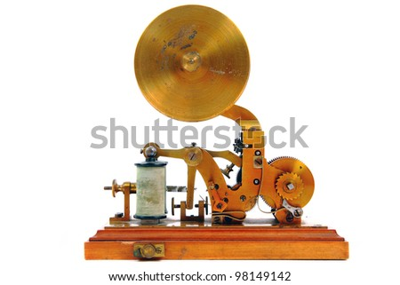 old telegraph isolated on the white background - stock photo