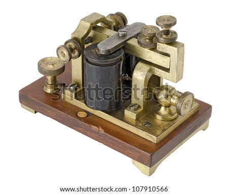 Old telegraph receiver isolated on white - stock photo