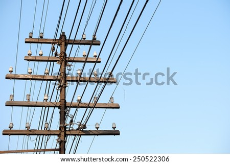 old telegraph wires - stock photo