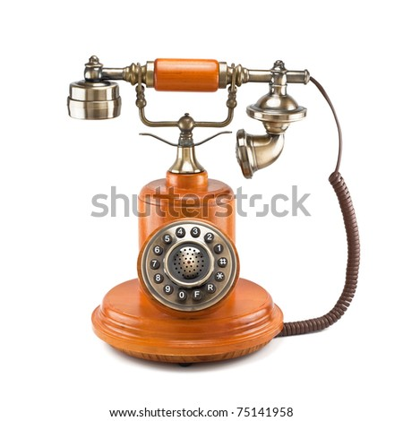 old telephone isolated on white background - stock photo