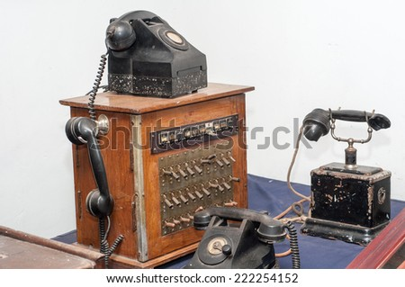 old telephone. Ready to connect. An antique telephone switchboard in the mid-20th century. - stock photo