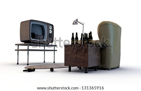 old television and many beer bottles isolated on white background