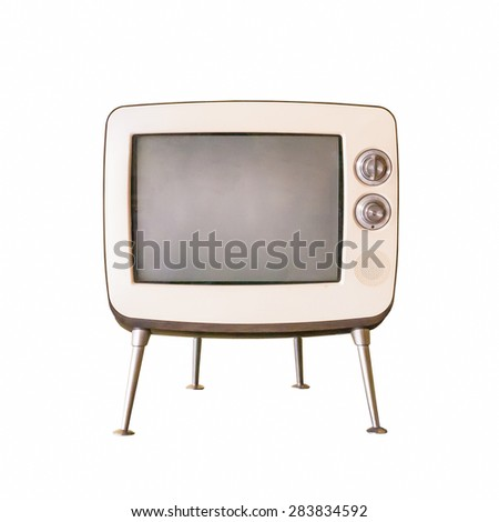 Old television isolated on white background - stock photo