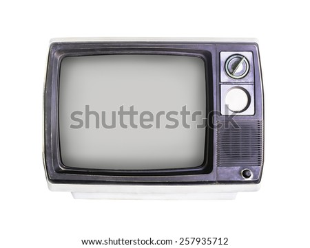 Old television isolated on white with clipping path
