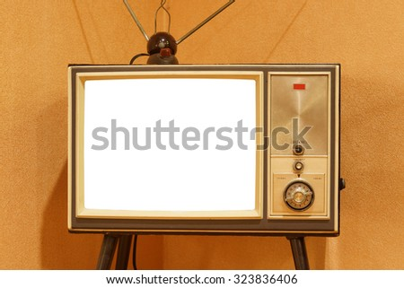 old television with white screen - stock photo