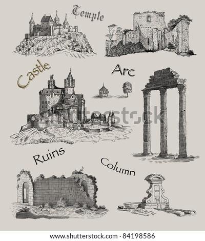 Old temple illustration - stock photo