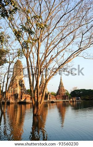 Old Temple in the evening, Wat Chai Wattanaram, Ayuthaya - Thailand - stock photo