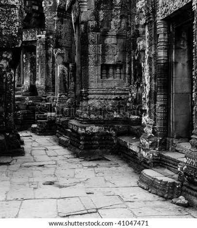 old temple of black and white