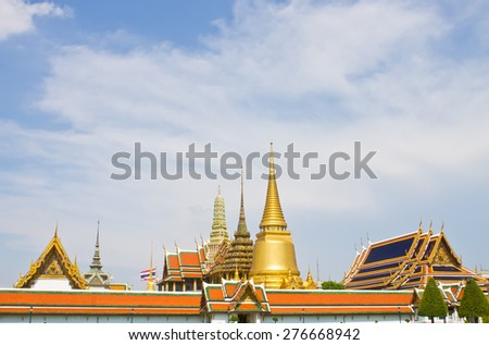 Old temple, Temple of the Emerald Buddha, Wat Phra Kaew in Bangkok, Thailand. In Thailand public domain or treasure of Buddhism. no copyright, no name of artist appear. - stock photo