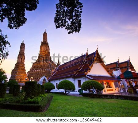 Old Temple Wat Arun in bangkok thailand - stock photo