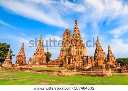 Old Temple wat Chaiwatthanaram of Ayuthaya Province( Ayutthaya Historical Park )Asia Thailand  - stock photo