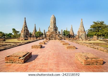 Old Temple, Wat Chaiwatthanaram Temple of Ayuthaya Province ( Ayutthaya Historical Park ),Thailand   - stock photo